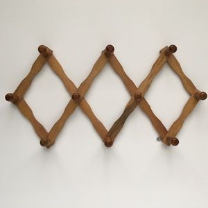 Wood Accordion Peg Hooks Storage Wall Hanging